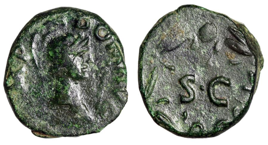 "Ancient Coins - Domitian AE Quadrans ""Minerva & SC in Laurel Wreath"" RIC 123"