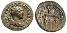 """Ancient Coins - Valerian I AE27 of Cilicia, Anazarbus (Anazarbos) """"Price Urn on Table"""" 253-268 AD"""