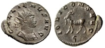 "Ancient Coins - Gallienus Zoo Antoninianus ""Cuirassed Bust & Goat Left"" Rome RIC 207 EF"