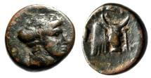 "Ancient Coins - Euboia, Eretria AE15 ""Nymph Euboia & Head of Bull Right"" Near VF Scarce"