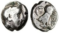 "Ancient Coins - Attica, Athens Transitional Style Silver Tetradrachm ""Athena & Owl"" Rare"
