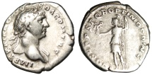 "Ancient Coins - Trajan Silver Denarius ""Roma Standing, Spear & Victory"" Rome RIC 115 aVF"