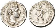 """Ancient Coins - Elagabalus Silver Denarius """"Sol With Whip"""" Rome RIC 40 Good VF"""