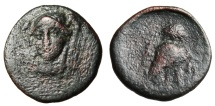 "Ancient Coins - Ionia, Lebedos AE19 ""Facing Athena & Owl"" Rare 3rd Century BC"