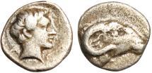 "Ancient Coins - Troas, Kebren (Cebren) Silver Obol ""Apollo & Ram Head"" Good VF"