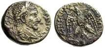 "Ancient Coins - Macrinus AR Tetradrachm ""Eagle Facing, Wings Spread, Head of Shamash"" Emesa VF"