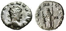 "Ancient Coins - Gallienus AE Antoninianus ""FIDES MILITVM Fides, Standard"" Rome RIC 192a EF"