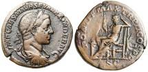 "Ancient Coins - Severus Alexander Bronze Sestertius ""Securitas Seated"" Rome RIC 407 VF"