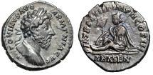"""Ancient Coins - Marcus Aurelius AR Denarius """"Captive Armenia Mourning"""" Rome 164 AD Good VF"""