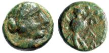 """Ancient Coins - Crete, Aptera AE14 """"Head of Hera & Soldier With Shield Walking"""" Good VF Rare"""