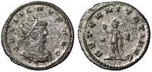 """Ancient Coins - Gallienus Billon Antoninianus """"AETERNITATI AVG Sol"""" Antioch RIC 630 Good VF"""