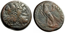 "Ancient Coins - Ptolemaic Kingdom: Ptolemy III Euergetes AE Tetrobol 38mm ""Zeus & Eagle"" nVF"