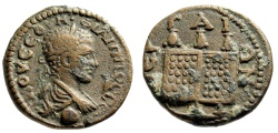 """Ancient Coins - Philip II AE23 """"Three Prize Purses Set on Chest, Folding Doors"""" Pamphylia, Perga"""