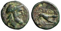 "Ancient Coins - Akarnania, Argos Amphilochikon AE18 ""Helmeted & Bearded Ares / Hound"" Very Rare"