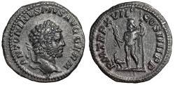 "Ancient Coins - Caracalla AR Denarius ""Jupiter, Eagle at Feet"" Rome 214 AD RIC 240 Good VF Toned"
