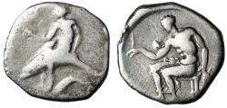 "Ancient Coins - Calabria, Tarentum AR Nomos ""Phalanthos, Dolphin, Prawn & Oikist"" Very Rare Dies"