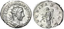 """Ancient Coins - Volusian AR Antoninianus """"Aequitas With Sacles"""" Rome 251-253 AD RIC 166 Near EF"""