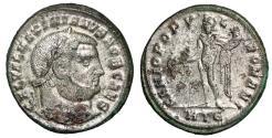 """Ancient Coins - Galerius Silvered Follis """"GENIO POPVLI ROMANI Genius"""" Heraclea RIC 20b gVF"""