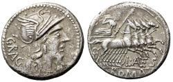 """Ancient Coins - L Antestius Gragulus AR Denarius """"Helmeted Roma & Jupiter in Quadriga"""" VF"""