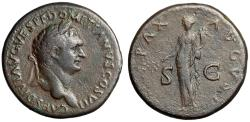 """Ancient Coins - Domitian as Caesar AE Sestertius """"Pax, Peace Holding Branch"""" Rome RIC 288 gF"""