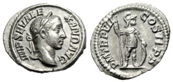 "Ancient Coins - Severus Alexander Silver Denarius ""Mars, Spear & Shield"" Rome 228 AD Lovely EF"