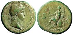 "Ancient Coins - Nero AE Sestertius ""Roma Seated on Cuirass""  Rome 62-68 AD RIC 335 Rare About VF"