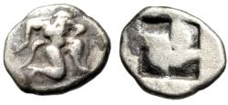 "Ancient Coins - Islands off Thrace, Thasos AR Diobol ""Satyr & Quadripartite Incuse"" Scarce"
