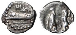 "Ancient Coins - Phoenicia, Sidon: King Evagoras AR 16th Shekel ""Fighting Lion, Ayin Ayin"" Rare"