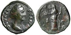 "Ancient Coins - Diva Faustina I Senior AE Sestertius ""Juno, Patera & Scepter"" RIC 1143"