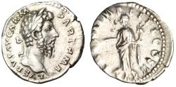 "Ancient Coins - Lucius Verus Silver Denarius ""Pax Holding Olive Branch"" Rome 166 AD RIC 561 VF"