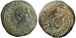 """Ancient Coins - Augustus 15 BC AE As """"SC, Naevius Surdinus Moneyer"""" RIC 385 Rare"""