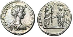 """Ancient Coins - Geta AR Denarius """"FELICITAS TEM-POR Felicitas & Emperor"""" Laodicea Good VF"""