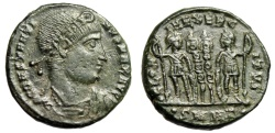 "Ancient Coins - Constantine I The Great ""GLORIA EXERCITVS Soldiers"" Heraclea RIC 121 Rare nEF"