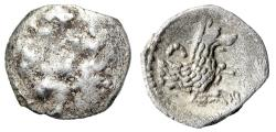 """Ancient Coins - Lycaonia, Laranda AR Obol """"Forepart of Wolf, Inverted Crescent Moon"""""""