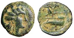 "Ancient Coins - Phoenicia, Arados AE17 ""Turreted Tyche & Athena on Prow"" VF Desert Patina"