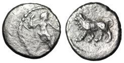 "Ancient Coins - Persia, Satraps Stamenes - Seleukos AR Hemiobol ""Baal Seated & Lion"" Very Rare"