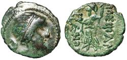 "Ancient Coins - Thrace, Mesembria AE21 ""Athena Promachos Brandishing Spear"" Good VF Crude Style"