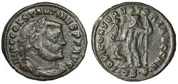 """Ancient Coins - Constantine I The Great 24mm Follis """"Jupiter, Eagle"""" Thessalonica RIC 61b gF"""