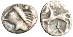"Ancient Coins - Celtic Gaul, Noricum Tribe Silver AR Obol ""Male & Horse, Three Ray Star"" Rare"