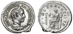 """Ancient Coins - Elagabalus AR Denarius """"FIDES EXERCITVS Fides, Eagle"""" Attractive About EF"""