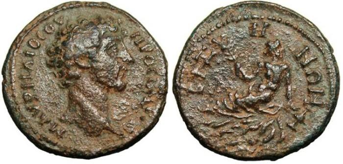 "Ancient Coins - Marcus Aurelius, AE25 ""River-god Reclining"" Thrace, Bizya VF Rare"