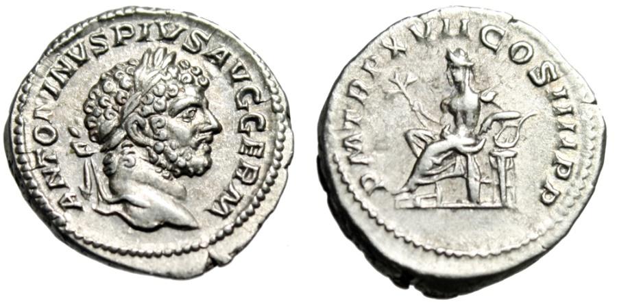 """Ancient Coins - Caracalla Silver Denarius """"Apollo Enthroned, Lyre"""" Rome 214 AD RIC 238a Good VF"""