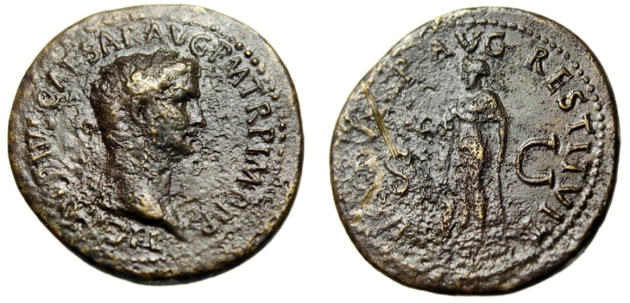 """Ancient Coins - Claudius I Sestertius Restoration of Titus """"Spes Walking"""" RIC 473 Extremely Rare"""