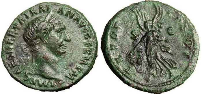 "Ancient Coins - Trajan, AE As ""Victory with Shield SPQR"" Rome RIC 395 VF"