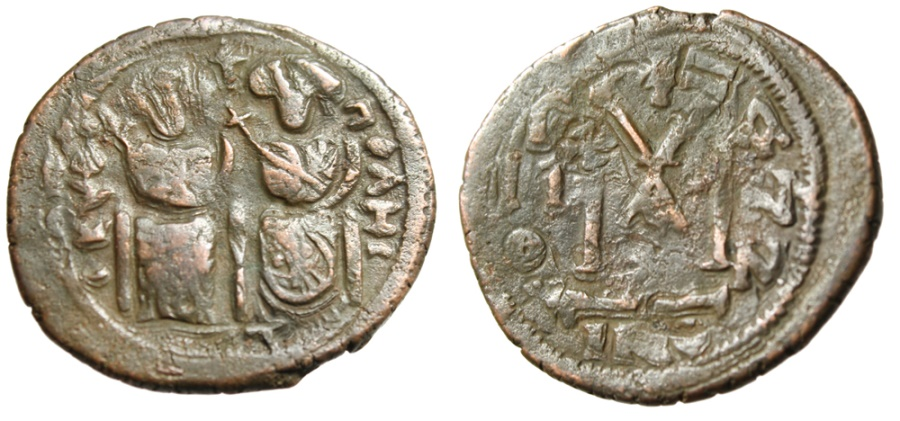 "Ancient Coins - Islamic Pseudo-Byzantine (Rashidun & Umayyads) AE Follis ""Seated Figures, Justin I"" Rare"