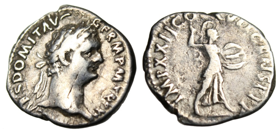 "Ancient Coins - Domitian Silver Denarius ""Minerva With Javelin & Shield"" Rome RIC 190"