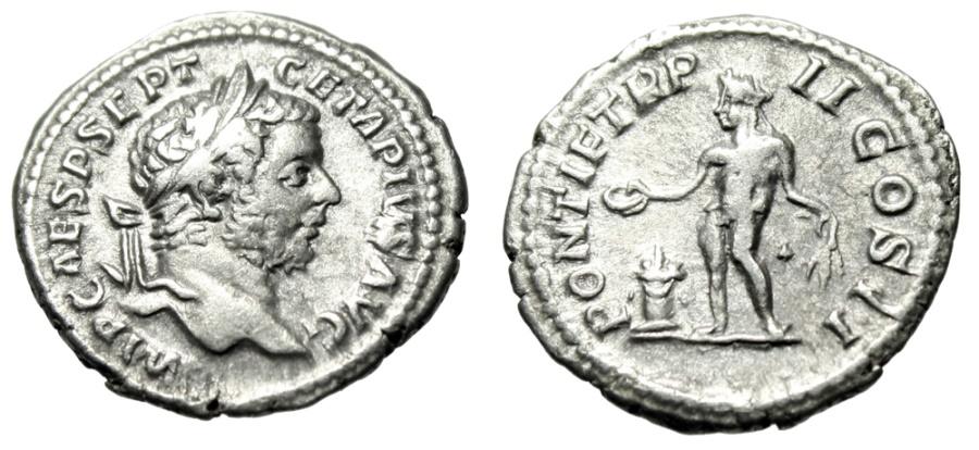 """Ancient Coins - Geta AR Denarius """"Genius at Altar"""" Rome 209-210 AD RIC 70b VF Mature Portrait"""