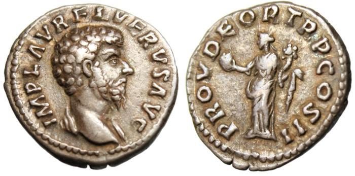 """Ancient Coins - Lucius Verus Silver AR Denarius """"Providentia"""" Rome RIC 463 VF"""