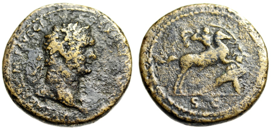 "Ancient Coins - Domitian Sestertius ""Horseback, Spearing German"" Rome 85 AD RIC 280 Scarce"