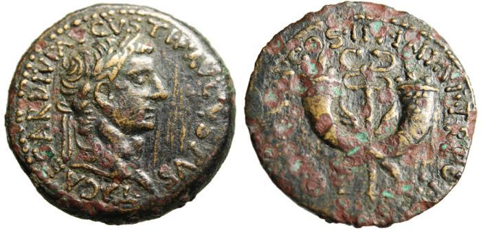 """Ancient Coins - Tiberius AE Dupondius """"Crossed Cornucopiae"""" Syria Commagene RIC 89 Very Rare VF"""
